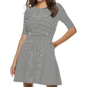 Flash Sale: Womens Black/White Fit & Flare Dress